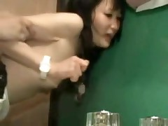 It is a constricted fit in this bathroom, and a constricted fit in her pussy.  But this pair manages to fuck in several different positions, and finally he leaves his hot cum inside her, a precious creampie for us to see.