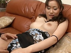 Stud fingers wicked Asian chick in nylons zealously